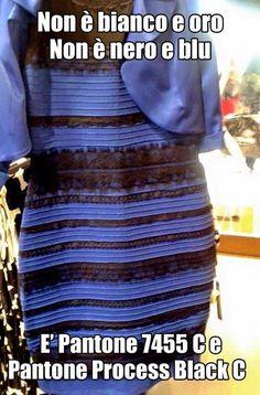 Non è bianco e oro. Non è nero e blu. E' Pantone 7455 C e Pantone Process Black C. #thedress