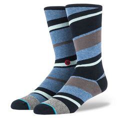 Classic colors and layering, but with a twist, make these soft cotton socks perfect for a long work day that transitions into a long *work* night. Or just a Saturday at the coffee house. Stance   Belvedere Blue Black, Blue socks