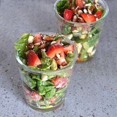 Summer salad with strawberries, asparagus and goat cheese with a poppy seed vinaigrette - really delicious!
