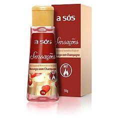 Gel A sós Sensações Comestível Hot Sabor Morango com Champagne - 50g  Mais Sexy Itanhaém-Praça Ângelo Guerra