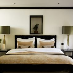 muted green, black and tan bedroom - like these colors for living room and kitchen