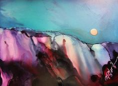 "Daily Paintworks - ""Amethyst Edge, 5 x 7 inch Alcohol Ink, Landscape"" - Original Fine Art for Sale - © Donna Pierce-Clark"