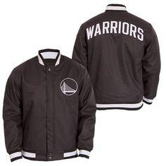 Golden State Warriors JH Design Alternate Logo Snap Front Poly Varsity Jacket - Slate