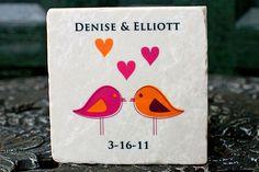 These coasters make whimsical and unexpected wedding favors. #MarthaStewartWeddingsMagazine
