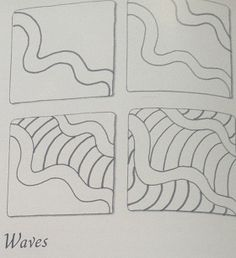 Zentangle pattern with drawing steps *Waves