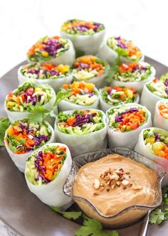 Loaded Veggie Summer Rolls with Cashew Tahini Dip.