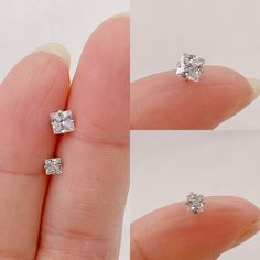 Dainty 4mm Square CZ stud earrings Sterling silver Tiny 3mm | Etsy Bar Stud Earrings, Dainty Earrings, Dainty Jewelry, Sterling Silver Earrings Studs, Bead Earrings, Crystal Earrings, Jewelry Polishing Cloth, Diamond Studs, Etsy