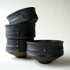 Ceramic Tea bowls by Jason Wason (British: 1946)
