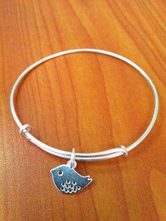 Bird Expandable Bangle Bracelet Bird Charm by HazelJewelryDesigns, $12.00