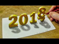 Happy New Year 2018 - How to Draw Number 2018 - Trick Art with Vamos - YouTube