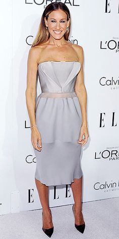 SARAH JESSICA PARKER  We bet Carrie Bradshaw would approve of the hint of midriff SJP shows in her Calvin Klein Collection dress, accessorized with burgundy velvet heels and an emerald David Yurman ring at the Elle event.
