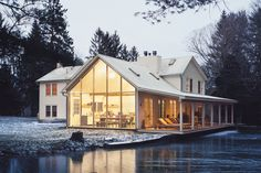 A labor of love from a self-taught architectural designer, this Floating Farmhouse is a far cry from the neon blue Catskill farmhouse it once was. The home integrates its addition into the existing structure with the same siding and roofing,...