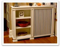 Custom radiator cover with shelves from WRCC in Chicago! Custom Radiator Covers, Home Radiators, Baseboard Heater Covers, Shaker Style Cabinets, Cabinet Companies, Small Space Storage, Extra Storage, Interior Design Living Room, Home Projects