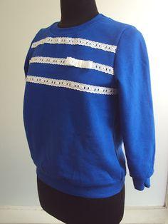 'So, Zo...': Refashion Friday Inspiration: Lace Stripes Sweatshirt Remake
