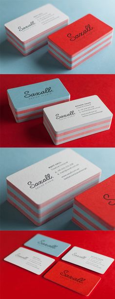 Minimalist Design With Great Colour On A Letterpress Business Card For A Design Studio