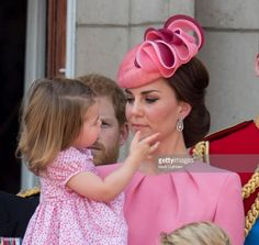 Catherine, Duchess of Cambridge and Princess Charlotte of Cambridge on the balcony at Buckinghgam Palace during the annual Trooping The Colour parade on June 17, 2017 in London, England. (Photo by Mark Cuthbert/UK Press via Getty Images)