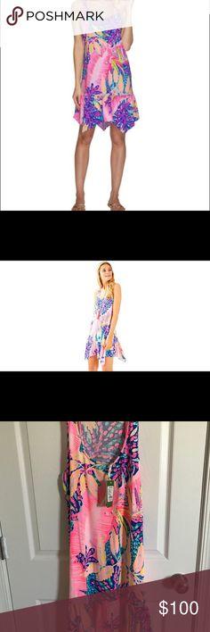NWT LILLY PULITZER HAMPTON DRESS SZ L New with tags Lilly Pulitzer Hampton dress in multi off the grid print size L Lilly Pulitzer Dresses
