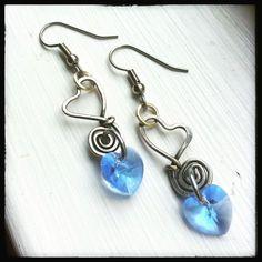 Sweet heart blue & silver handmade wire dangle earrings. Something blue : )