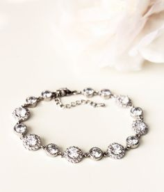 Wedding Jewelry Bridal Bracelet crystal wedding bracelet silver Round Lux clear white Cubic Zirconia bracelet wedding gift jewelry