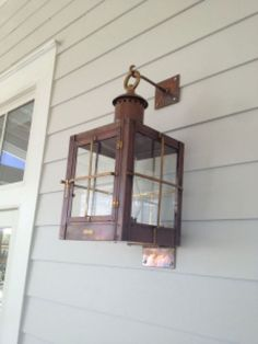 Copper gas lanterns and electric lights are a beautiful accent piece for any style home or business. See examples of our handmade lanterns and mounting bracket styles. Beach House Lighting, Garage Lighting, Exterior Lighting, Outdoor Lighting, Nautical Lanterns, Nautical Lighting, Nautical Theme Decor, Coastal Cottage, Coastal Living