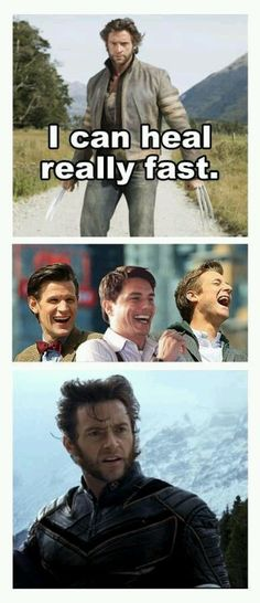 The Doctor, Captain Jack, and Rory laugh at Wolverine's mutant powers! #DoctorWho  #RoryWilliams #JackHarkness