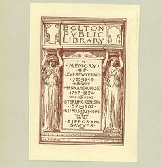 """Sidney Lawton Smith (1845-1929) American illustrator, engraver, & bookplate artist / """"In memory of ..."""" presentation or gift bookplate for the Bolton Public Library, USA????"""
