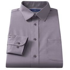 Men's Croft & Barrow® Classic-Fit Easy Care Solid Spread-Collar Dress Shirt, Size: 18 36/37, Med Grey