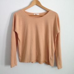 """F21 Relaxed Peach Long Sleeve Tee Perfect for relaxing! Forever 21 Essentials peach-colored long sleeve tee, size small. Very soft! Laid flat, measures 22"""" wide, 20"""" long. Great condition! Forever 21 Tops Tees - Long Sleeve"""