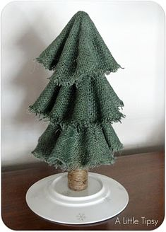 Burlap Christmas Tree. So cute! (/this would be even more pretty decorated with a garland made of twine and beads)