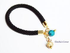Black matt beads with sparkly shamballa balls handmade bead bracelet see more: https://www.facebook.com/ElmirkasCorner/posts/850533531720734
