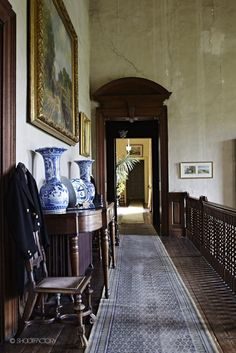 incredibly long landing and hallway with lovely cracked plaster walls. decadent decay