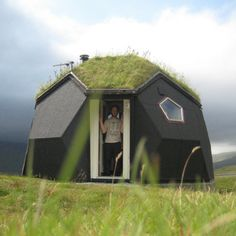 geodesic dome with green roof Igloo House, Dome House, Hut House, Best Home Security, Unusual Homes, Small Buildings, Geodesic Dome, Cabins And Cottages, Small Places