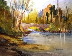 """This is a painting of a bridge over a small stream. Painted on 11"""" X 14"""" 300# Cold Press Fabriano Artistico watercolor paper. I hope you like it and give it ..."""
