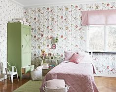 Lilleby - Boråstapeter - colours to go with wallpaper, pinks reds greens Nursery Room, Girl Room, Girls Bedroom, Room Of One's Own, Pastel House, Sweet Home, Interior Decorating, Interior Design, Kids Wallpaper