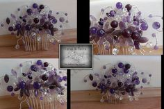 Amethyst gemstone hair comb was commissioned for a lady who was attending a wedding and wanted something to match her out fit