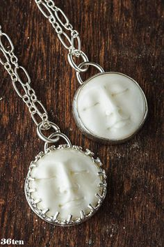 Silver Moon Face Necklace Ready to Ship by 36ten on Etsy, $62.00