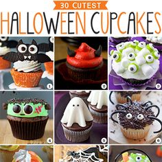30 of the most original, silliest, spookiest and cutest Halloween cupcakes! Mummy cupcakes, ghost cupcakes, witch cupcakes, and lots more!