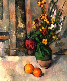 Still-life with apples and flowers - Paul Cezanne
