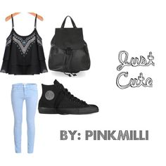 Just Cute by pinkmilli on Polyvore featuring Current/Elliott, Converse and Topshop