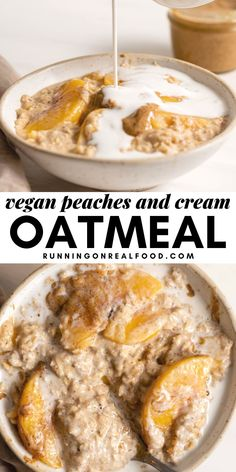 This gluten-free and vegan peaches and cream oatmeal is easy to make in 10-minutes and rich in protein and fiber. Enjoy for a healthy, filling, warm and cozy plant-based breakfast. Oatmeal Recipes, Vegan Breakfast Recipes, Vegan Recipes Easy, Beef Recipes, Vegetarian Recipes, Recipes Dinner, Vegan Ideas, Veggie Recipes, Recipies