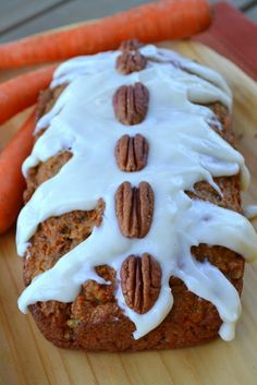 Carrot Bread with Cream Cheese Glaze and Toasted Pecans