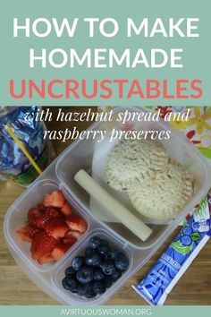 How to Make Homemade Uncrustables with Chocolate Hazelnut Spread and Raspberry Preserves… Tasty Dishes, Food Dishes, Healthy Eating Plate, Lunch Box Recipes, Lunch Ideas, Raspberry Preserves, Hazelnut Spread, Balanced Meals, Chocolate Hazelnut