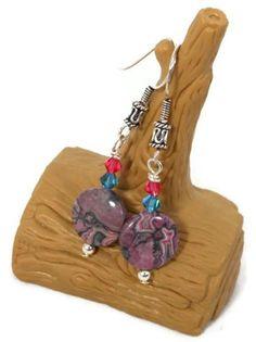 Pink Laguna Lace Disc and Swarovski Bicone Earrings | craftingmemories - Jewelry on ArtFire