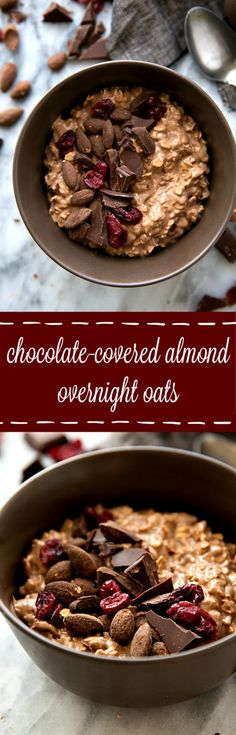 Overnight oatmeal flavored to taste like chocolate-covered almonds. Add in some dried cranberries and enjoy a delicious, quick, & easy seasonal breakfast! by Chelsea's Messy Apron What's For Breakfast, Breakfast Dishes, Breakfast Recipes, Oatmeal Flavors, Oatmeal Recipes, Brunch Recipes, Snack Recipes, Cooking Recipes, Jar Recipes