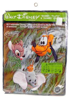 Walt Disney Pluto, Bambi, Dumbo Character Ornaments Felt Kit by Paragon 6294, Christmas Decorations, Embroidery, Sewing, New Unused by QueeniesCollectibles on Etsy