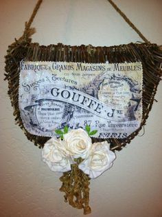 French Hanging Basket Wall Pocket by lamoneeboutique on Etsy, $32.00