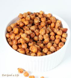 Have you tried to make your own roasted chickpeas before? I used to eat this sort of thing when I was little, however, I never came across a garlic parmesan roasted chickpeas version before. This recipe comes from my friend Brenda's new cookbook.