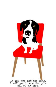 Hound Dog Art Wall Decor Waiting on a Red Chair to be Rescued 5x7