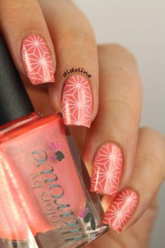 Colors by Llarowe - Nice Melons ! Stamping Nail Art, Geometric Designs, Nail Art Designs, Decals, Polish, Tutorials, Hand Painted, Abstract, Nice