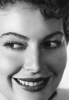 Ava Gardner = perfection.  Notice the Vaseline on the brows as part of the makeup routine and photoshoot.